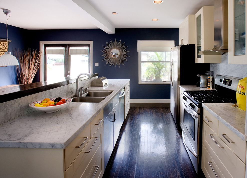 Benjamin Moore Hale Navy for a Contemporary Kitchen with a Wood Trim and Kitchen1 by Erica Islas  / Emi Interior Design, Inc.