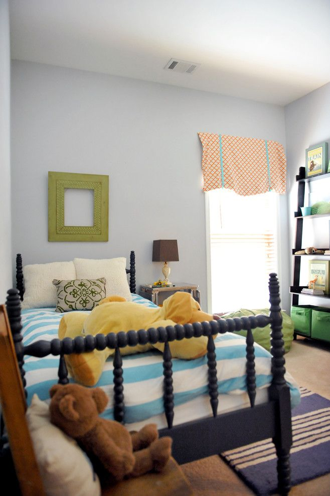 Benjamin Moore Hale Navy for a Eclectic Kids with a Leaning Bookcase and Two Ellie by Two Ellie