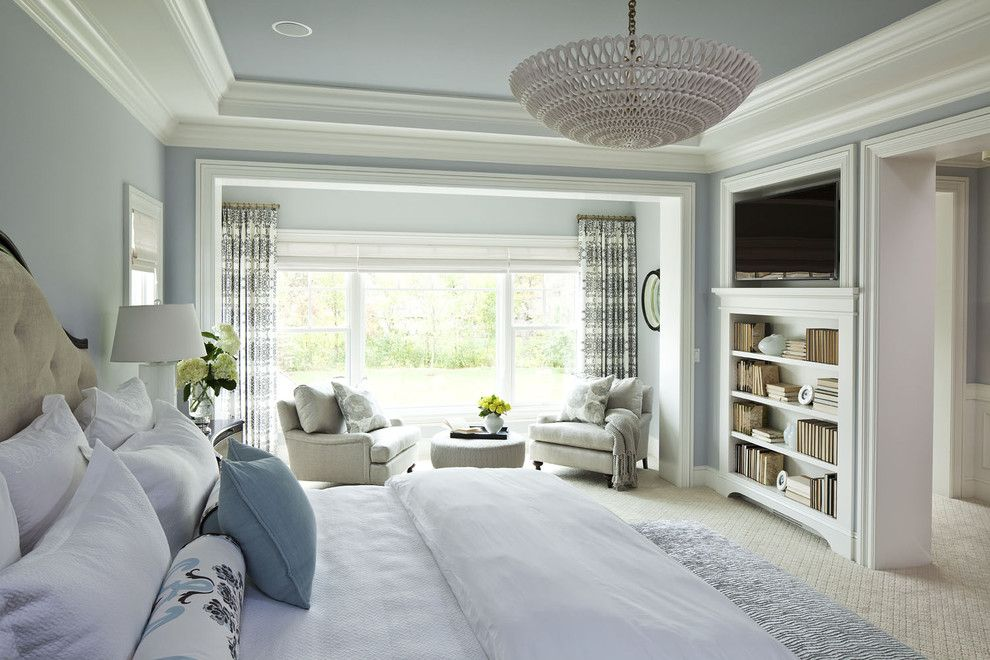 Benjamin Moore Hale Navy for a Traditional Bedroom with a Chandelier and Parkwood Road Residence Master Bedroom by Martha O'hara Interiors