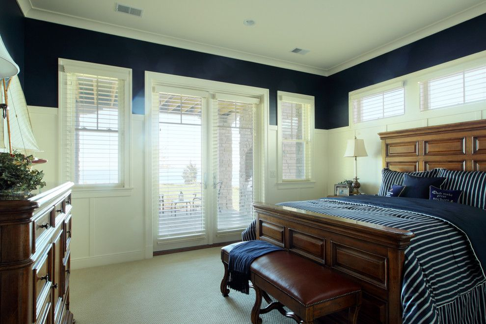 Benjamin Moore Hale Navy for a Traditional Bedroom with a Window Blinds and Bedroom by Visbeen Architects