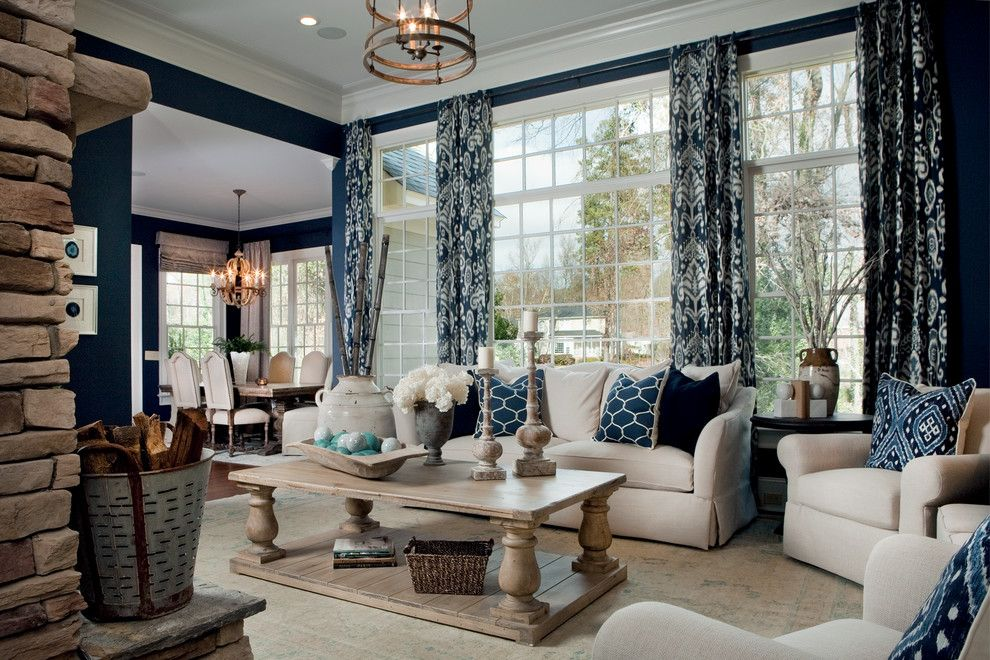 Benjamin Moore Hale Navy for a Traditional Living Room with a Decorative Lighting and Parade of Homes 2012 by LGB Interiors