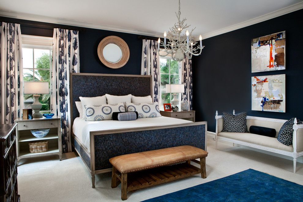 Benjamin Moore Hale Navy for a Transitional Bedroom with a Carpeting and Florida Home by Lgb Interiors