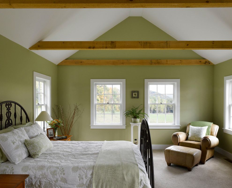 Benjamin Moore Manchester Tan for a Farmhouse Bedroom with a Wall to Wall Carpet and Charlotte Prindle by Connor Homes