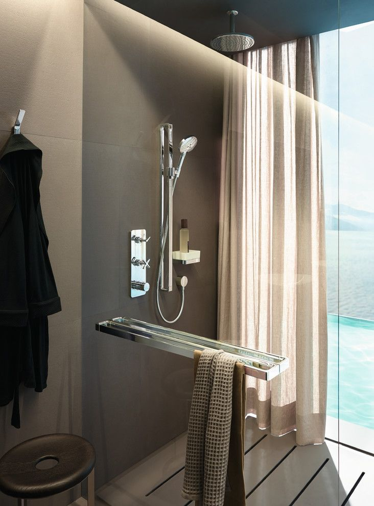 Benjamin Moore Manchester Tan for a Modern Bathroom with a Rainshower Head and Hansgrohe by Hansgrohe Usa