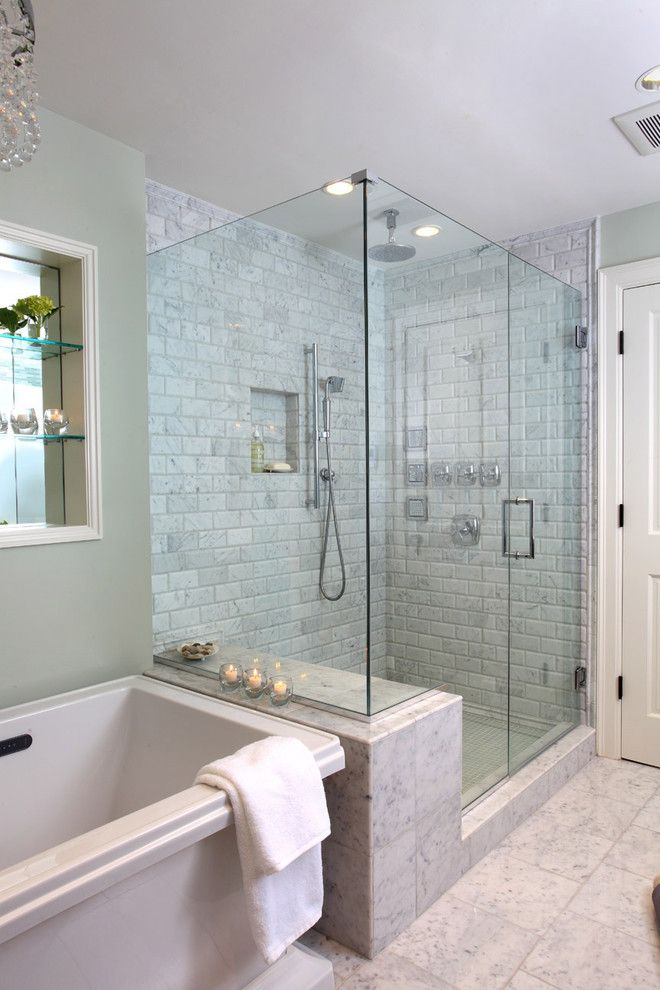 Benjamin Moore Moonshine for a Traditional Bathroom with a Tiled Floor and Master Bathroom by Justine Sterling Design