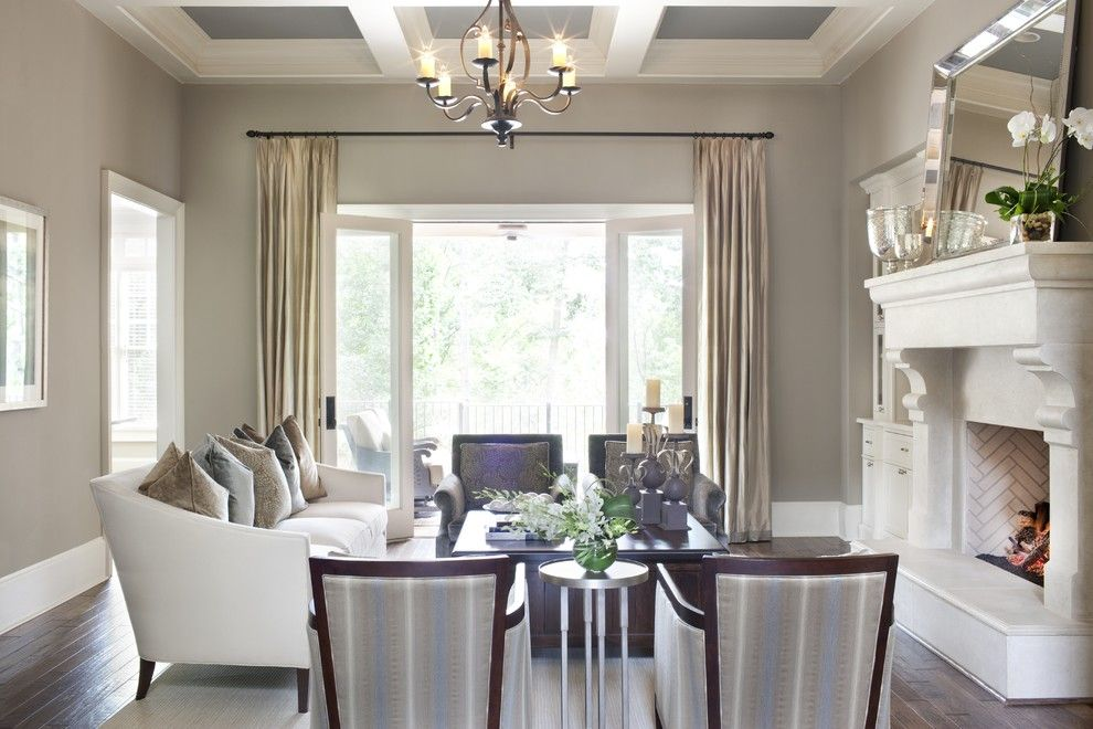 Benjamin Moore Moonshine for a Traditional Living Room with a Coffered Ceiling and J Designs, Inc by J Designs, Inc
