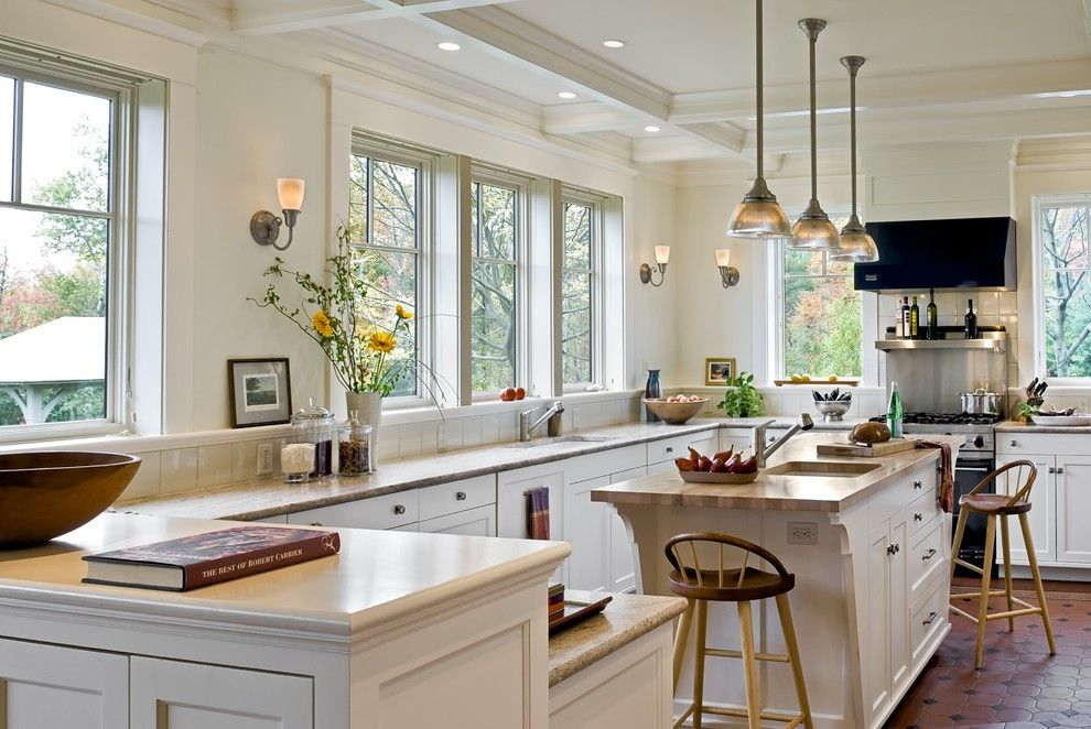 Benjamin Moore Moonshine for a Victorian Kitchen with a Recessed Lighting and Shingle Style Home in Hanover Nh by Smith & Vansant Architects Pc