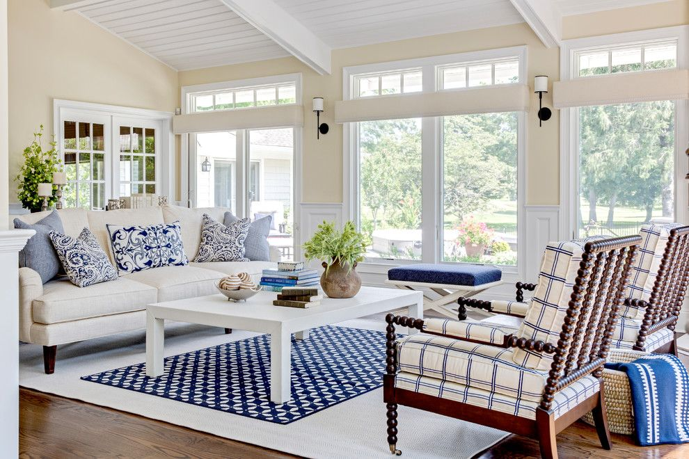 Benjamin Moore Muslin for a Beach Style Family Room with a Open Floor Plan and Oyster Bay Cove Residence by Kim E Courtney Interiors & Design Inc