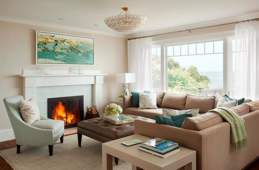 Benjamin Moore Muslin for a Beach Style Living Room with a Casual and Cliffside Perch by Leblanc Design