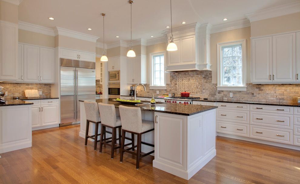 Benjamin Moore Muslin for a Traditional Kitchen with a White Cabinets and Elbow Park by Caniela Design