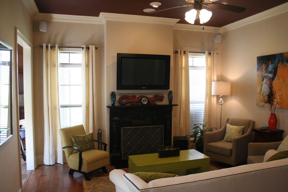 Benjamin Moore Muslin for a Traditional Living Room with a Small Living Room and Living Room by Zaunbrecher Design