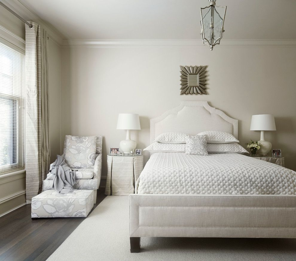 Benjamin Moore Muslin for a Transitional Bedroom with a Curtains and Lincoln Park Residence by Eva Quateman Interiors