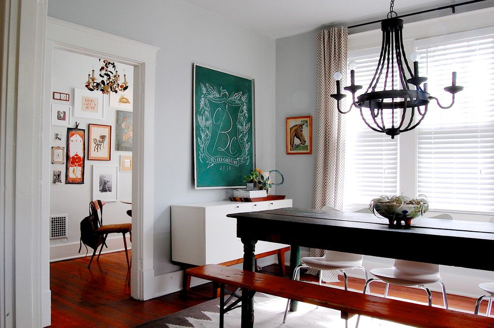 Benjamin Moore Paint Home Depot for a Craftsman Dining Room with a Black Wrought Iron Chandelier and My Houzz: Modern Meets Vintage in This Eclectic Nashville Home by Corynne Pless