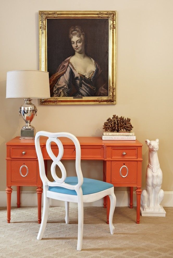 Benjamin Moore Paint Home Depot for a Transitional Home Office with a Vintage Pieces and Jill Sorensen by Jill Sorensen