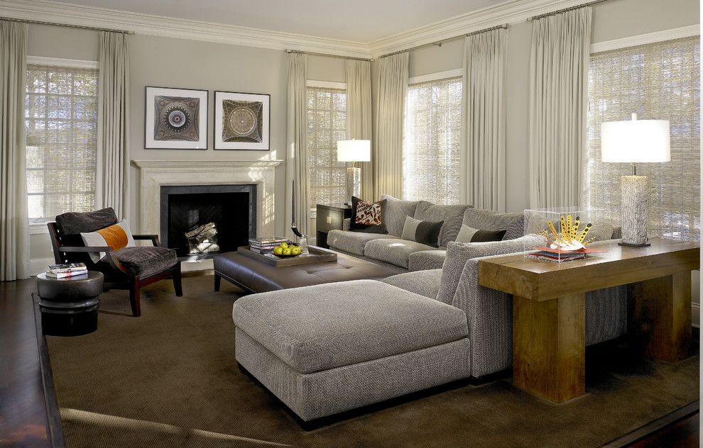 Benjamin Moore Pashmina for a Contemporary Family Room with a Dark Brown Rug and Glencoe Residence 1 by Handman Associates