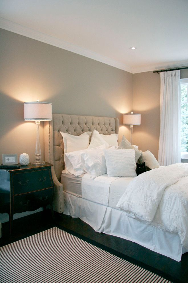 Benjamin Moore Pashmina for a Traditional Bedroom with a Tufted Headboard and Barrie Residence by Staples Design Group