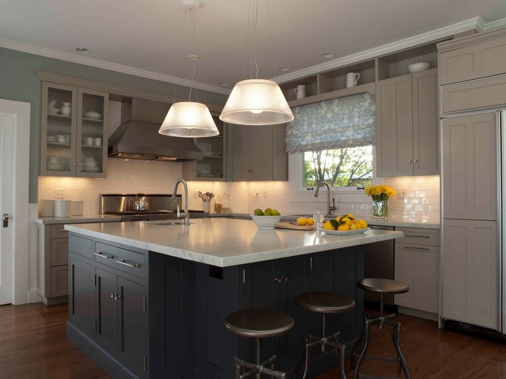 Benjamin Moore Pashmina for a Traditional Kitchen with a Ann Lowengart Interiors and Blue and Gray Kitchen by Ann Lowengart Interiors