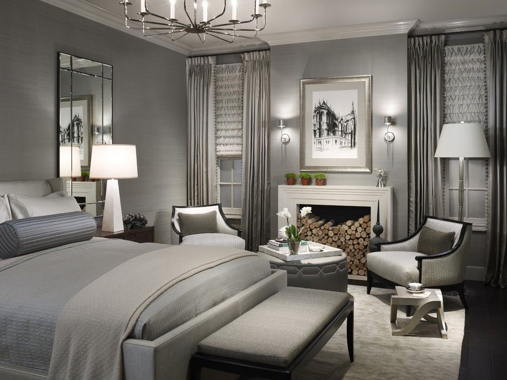 Benjamin Moore Pashmina for a Transitional Bedroom with a Wall Art and 2011 Dream Home Bedroom at Merchandise Mart by Michael Abrams Limited