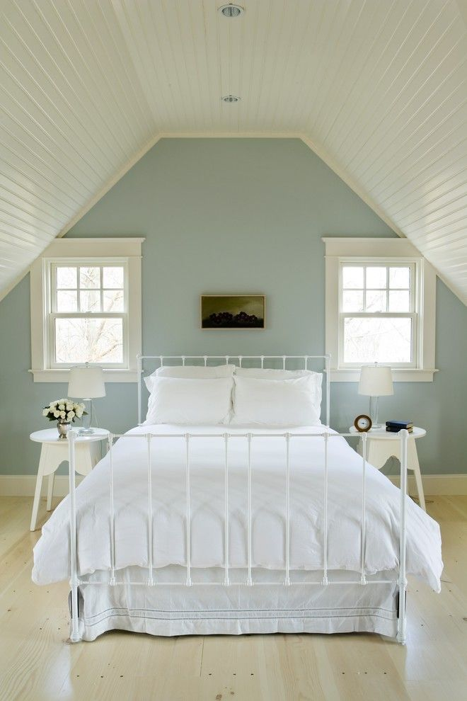 Benjamin Moore Quiet Moments for a Beach Style Bedroom with a Gray and Chartwell House :: Design + Build by Aquidneck Properties by Aquidneck Properties