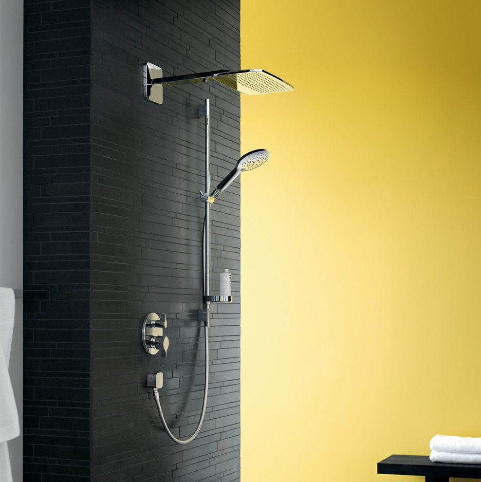 Benjamin Moore Quiet Moments for a Modern Bathroom with a Rainshower Head and Hansgrohe by Hansgrohe Usa