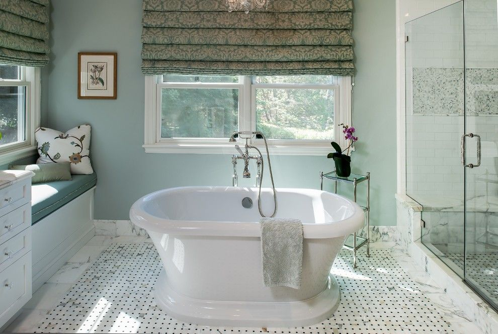 Benjamin Moore Quiet Moments for a Traditional Bathroom with a Blue and White Bathroom and Traditional Calacatta Bathroom by Douglah Designs