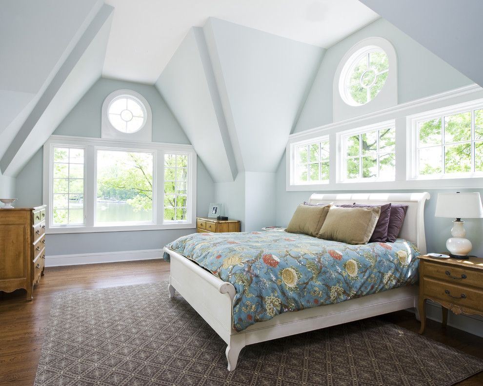 Benjamin Moore Quiet Moments for a Traditional Bedroom with a Sleigh Bed and Lake House Project by Joseph M Marchese, Architect