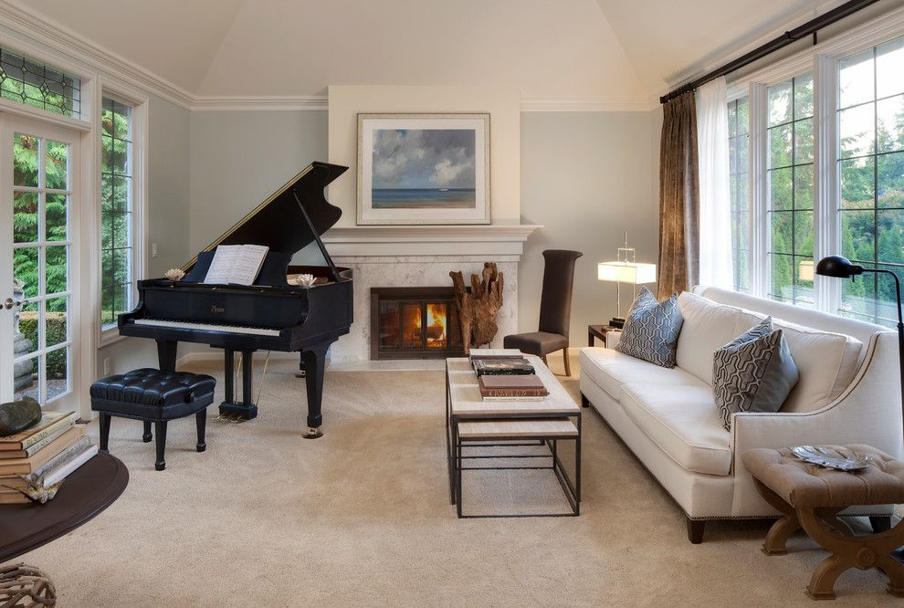 Benjamin Moore Quiet Moments for a Traditional Living Room with a Neutral Palatte and English Hill Music Room by Interiors