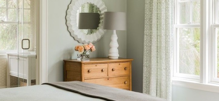 Benjamin Moore Quiet Moments for a Transitional Bedroom with a Green Bedding and Falmouth Residence - Guest Bedroom by Terrat Elms Interior Design