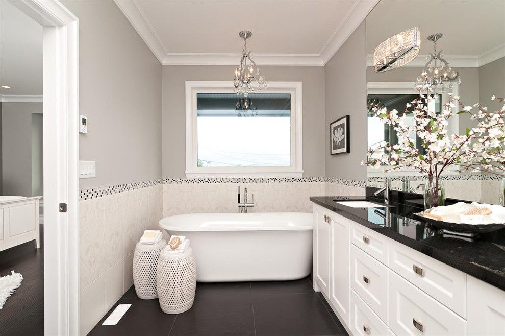 Benjamin Moore Revere Pewter Color Match for a Contemporary Bathroom with a White Bathroom Vanity and Royal Ocean View by Positive Space Staging + Design, Inc.