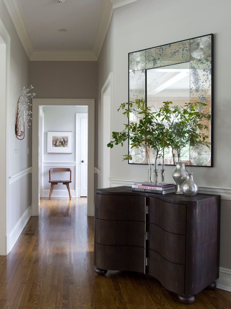 Benjamin Moore Revere Pewter Color Match for a Contemporary Hall with a Wood Floor and Washington, Ct, Home by S. B. Long Interiors