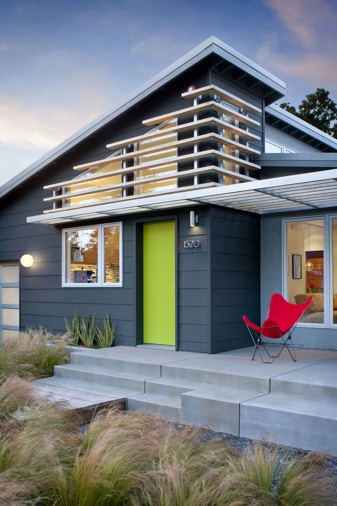 Benjamin Moore Revere Pewter Color Match for a Midcentury Exterior with a Metal Awning and Cloud Residence by Ana Williamson Architect