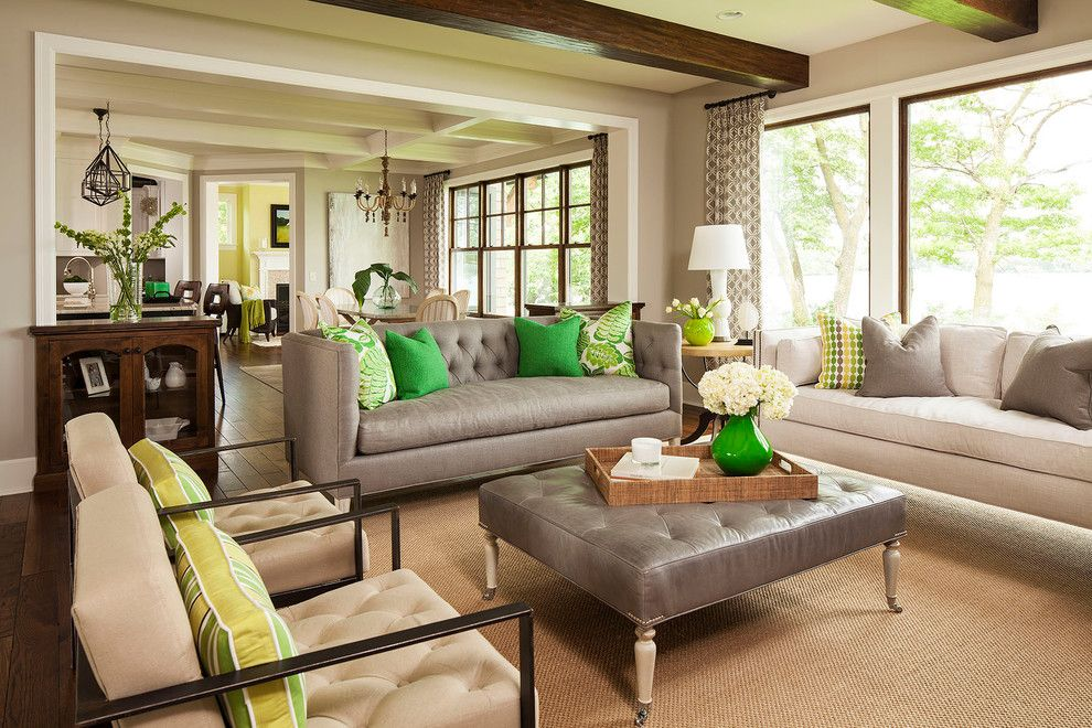 Benjamin Moore Revere Pewter Color Match for a Transitional Living Room with a Curtain and Palmer Point Road Residence 2 Living Room 2 by Martha O'hara Interiors