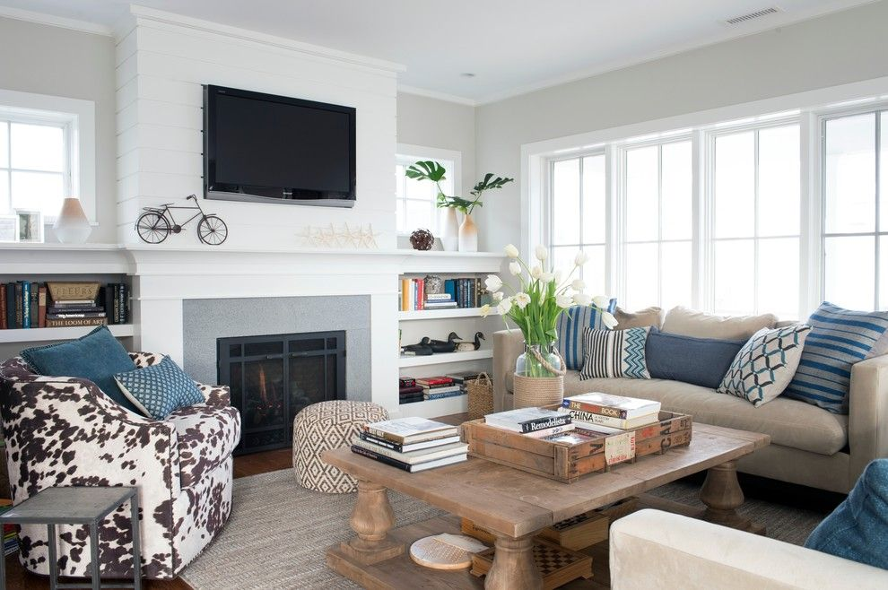 Benjamin Moore Sea Salt for a Beach Style Living Room with a Patterned Ottoman and Westport Beach House by Bensonwood
