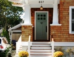 Benjamin Moore Sea Salt for a Craftsman Exterior with a Shingle Style and Front Elevation Surfers End by Richard Bubnowski Design LLC