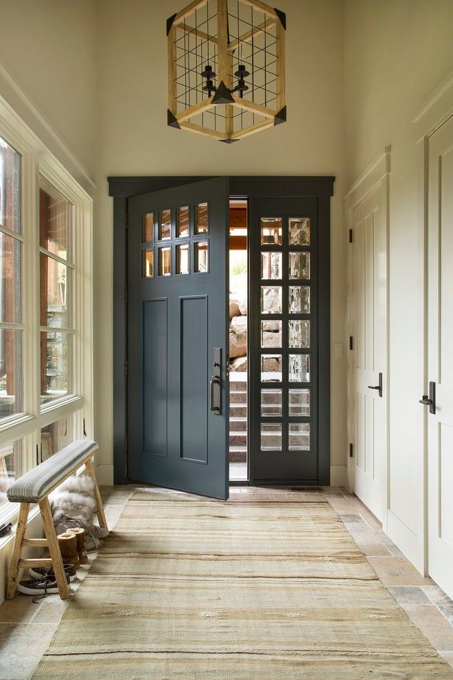 Benjamin Moore Sea Salt for a Rustic Entry with a Entry Light Fixture and Deer Valley, Utah Retreat by Massucco Warner Miller Interior Design
