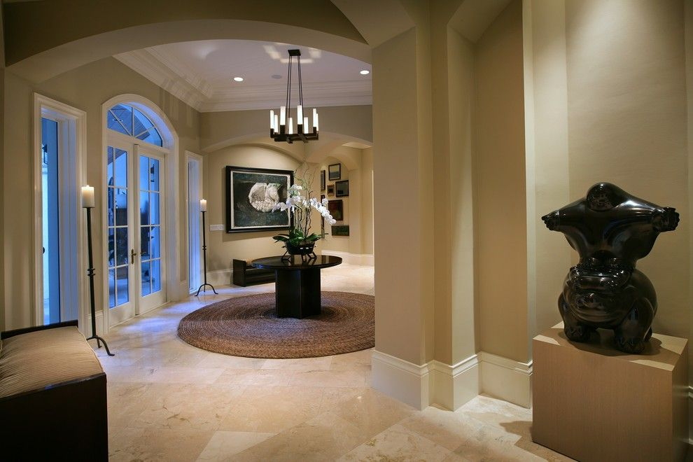 Benjamin Moore Shaker Beige for a Contemporary Entry with a Glass Doors and Miami Foyer by Michael Abrams Limited