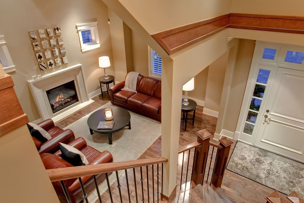 Benjamin Moore Shaker Beige for a Contemporary Living Room with a Arm Chairs and Private Home by John Bentley
