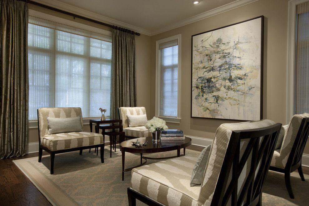 Benjamin Moore Shaker Beige for a Traditional Living Room with a Lounge Chairs and Seeley Living Room B by Michael Abrams Limited
