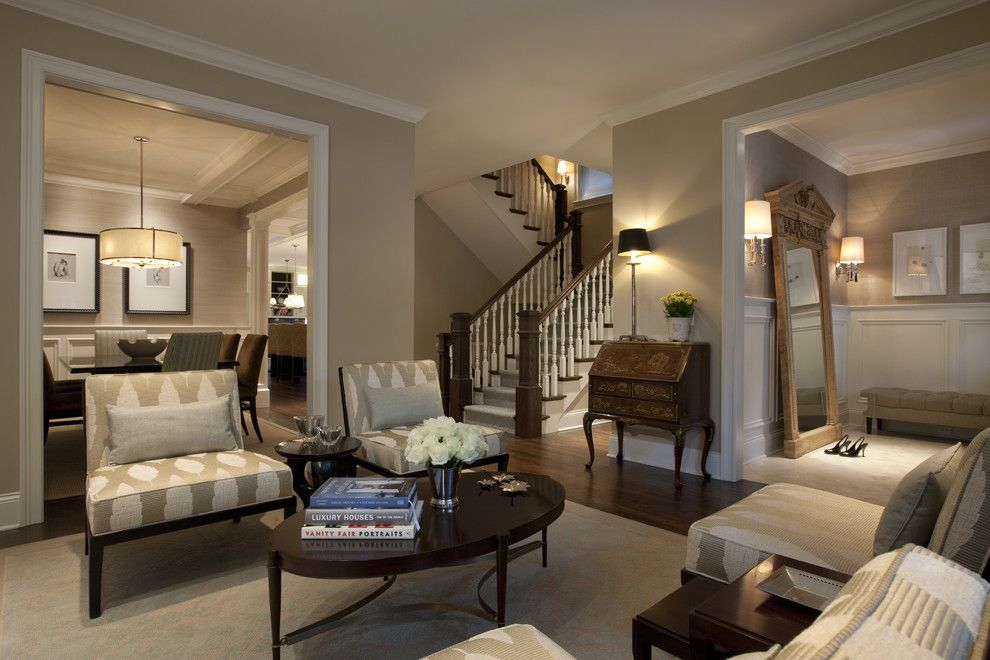 Benjamin Moore Shaker Beige for a Traditional Living Room with a Oval Coffee Table and Seeley Living Room a by Michael Abrams Limited