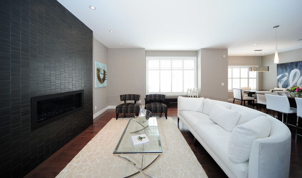 Benjamin Moore Silver Fox for a Contemporary Living Room with a Upholstered Chairs and Modern Contemporary Design by Kon Strux Developments
