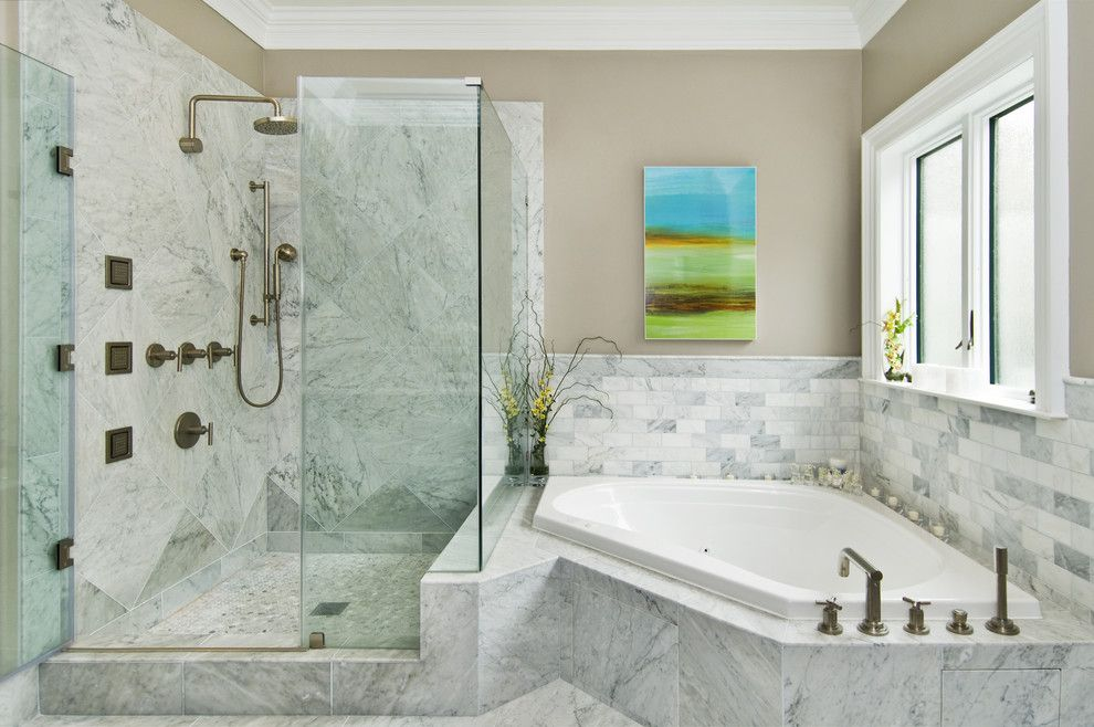 Benjamin Moore Silver Fox for a Transitional Bathroom with a Stone Tile and Commodore House by J K Construction