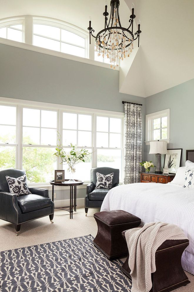 Benjamin Moore Silver Fox for a Transitional Bedroom with a Clerestory Windows and Palmer Point Road Residence 2  Master Bedroom by Martha O'hara Interiors