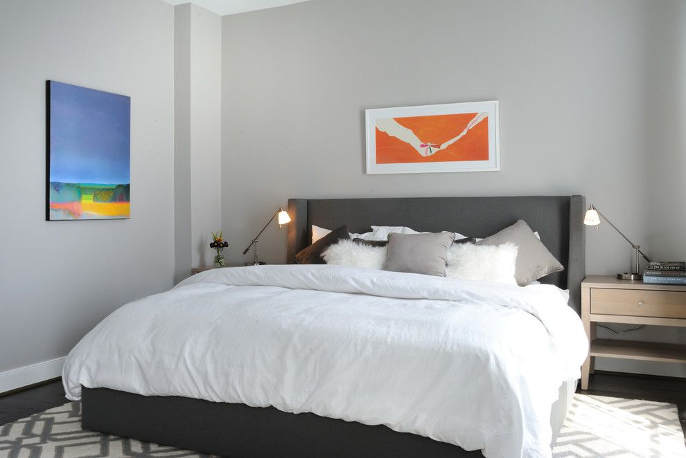 Benjamin Moore Smoke for a Contemporary Bedroom with a Upholstered Headboard and Potomac Yards Alexandria Home by Liza Ryner Design