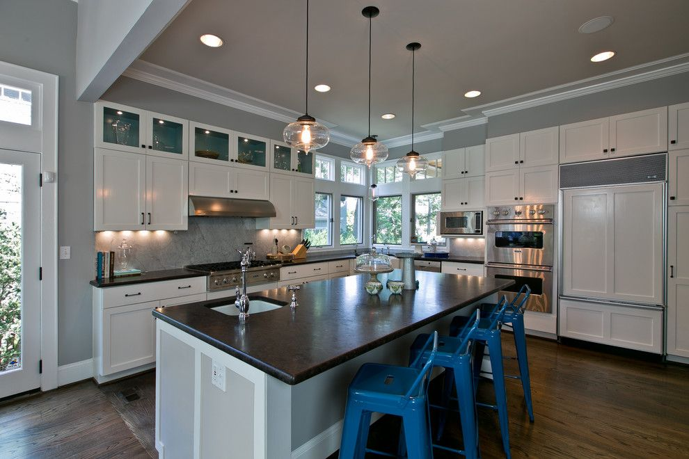 Benjamin Moore Smoke for a Contemporary Kitchen with a Marble Backsplash and Chevy Chase Residence by Heather Odonovan Interior Design