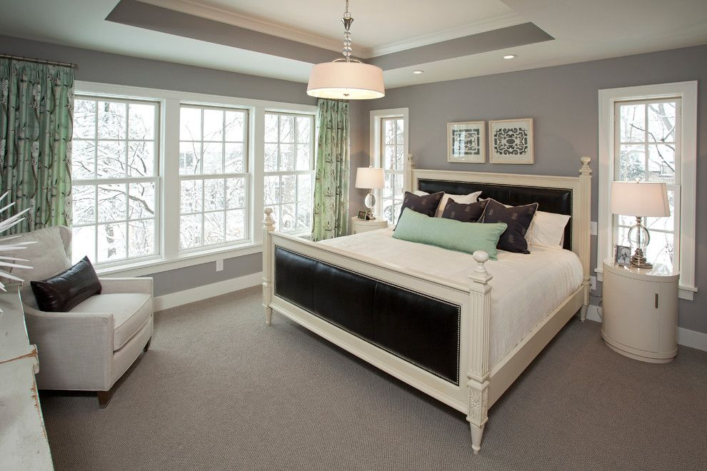 Benjamin Moore Stonington Gray for a Beach Style Bedroom with a Nightstand and Coastal Casual by Refined Llc