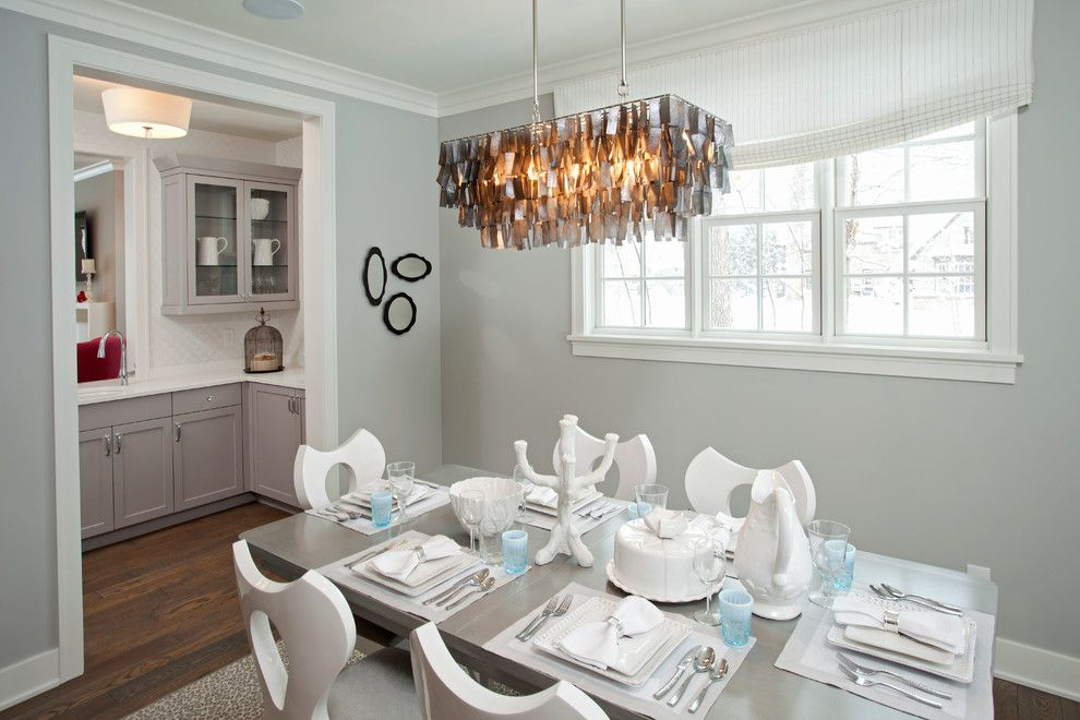 Benjamin Moore Stonington Gray for a Beach Style Dining Room with a White Dining Chairs and Coastal Casual by REFINED LLC