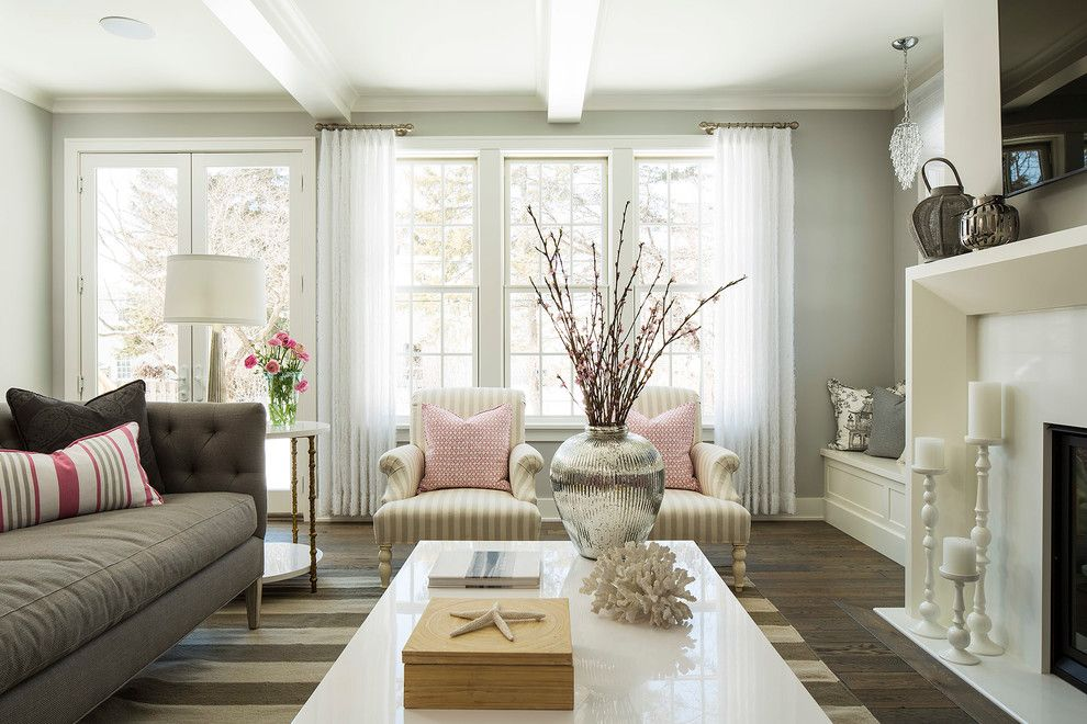 Benjamin Moore Stonington Gray for a Beach Style Living Room with a Millwork and Kellogg Road Residence by Martha O'hara Interiors