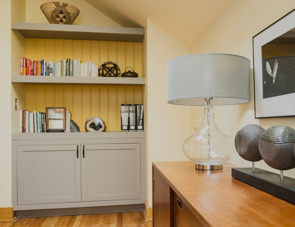 Benjamin Moore Stonington Gray for a Modern Home Office with a Benjamin Moore Yellow Rain Coat and Chatham, Ny Home Office by Bespoke Decor