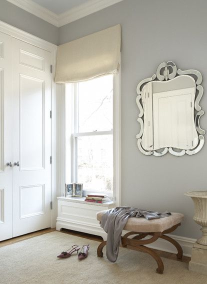 Benjamin Moore Stonington Gray for a Traditional Bedroom with a Venetian Glass Mirror and || C O B U R N   a R C H I T E C T U R E || by Cwb Architects