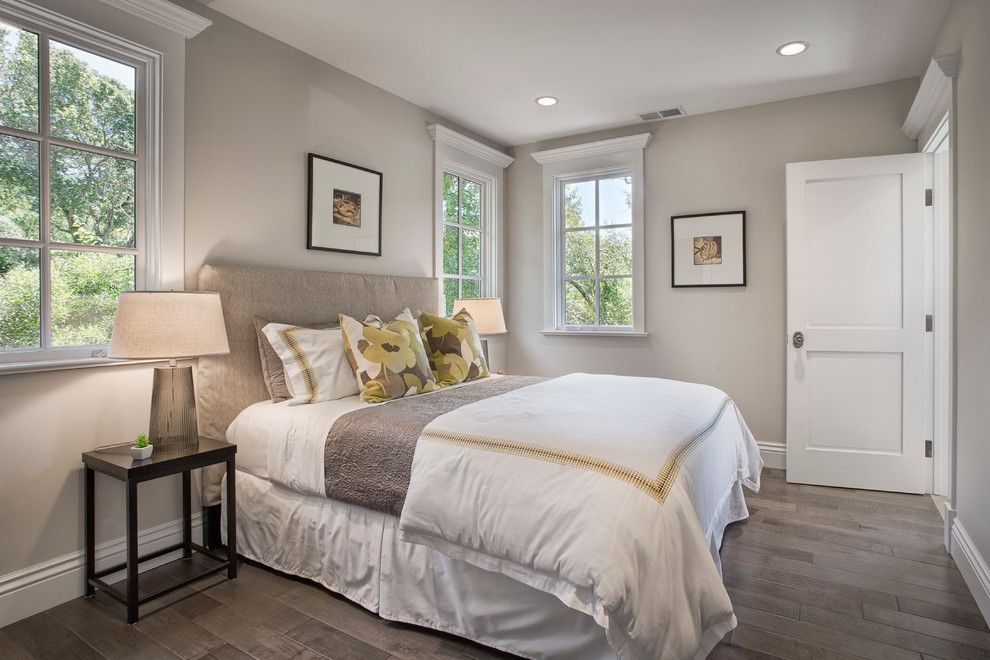 Benjamin Moore Stonington Gray for a Traditional Bedroom with a White Bedding and Mill Valley Estate by Kcs, Inc.